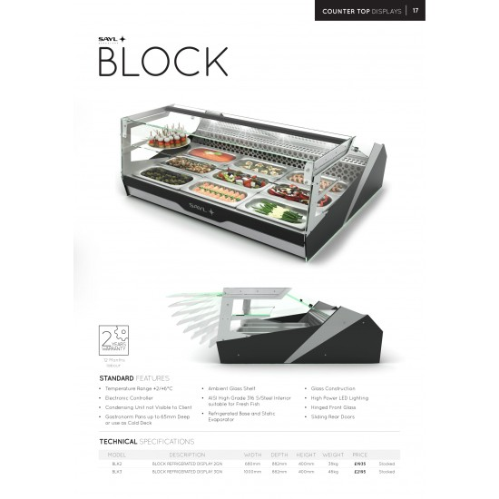 SQUARE REFRIGERATED COUNTER TOP FRIDGE 1M