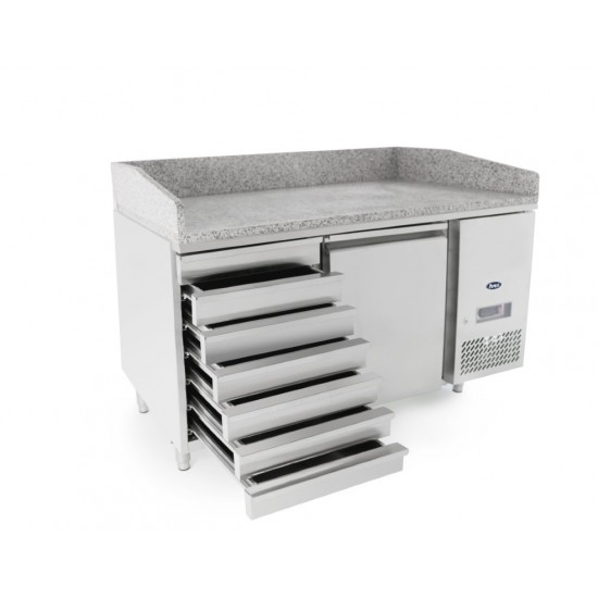 PIZZA COUNTER 1 DOOR 7 DRAWS WITH 1500MM VRX UNIT & GN PANS 100MM