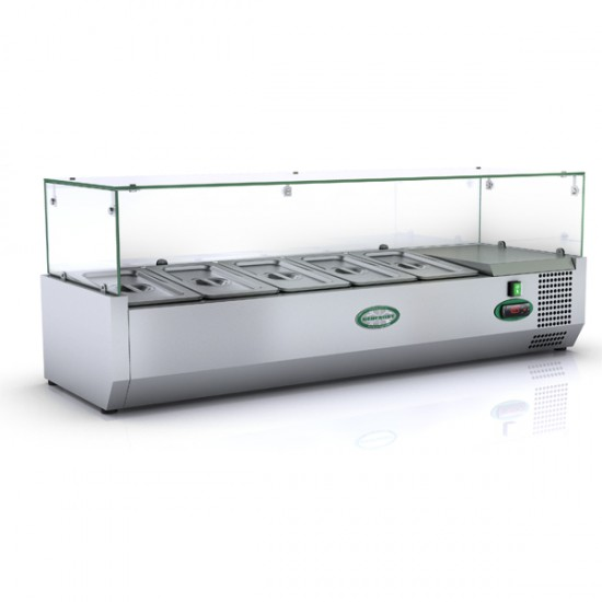 1/3 GN TOPPING FRIDGE WITH GLASS TOP 1.2M