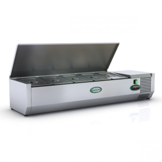 1/3 GN TOPPING FRIDGE WITH S/STEEL LID 1.2M