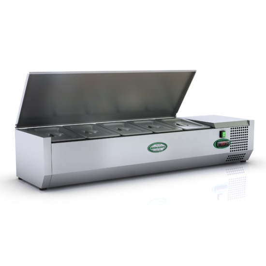 1/4 GN TOPPING FRIDGE WITH S/STEEL LID 1.2M