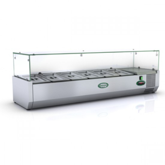 1/3 GN TOPPING FRIDGE WITH GLASS TOP 1.4M