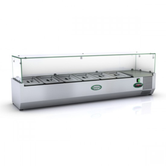 1/4 GN TOPPING FRIDGE WITH GLASS TOP 1.2M