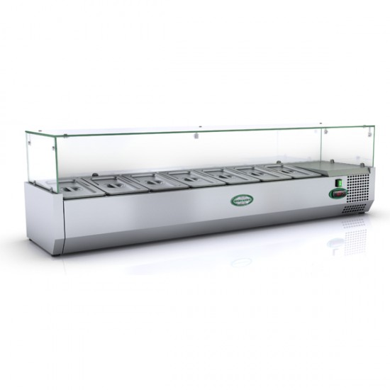 1/3 GN TOPPING FRIDGE WITH GLASS TOP 1.5M
