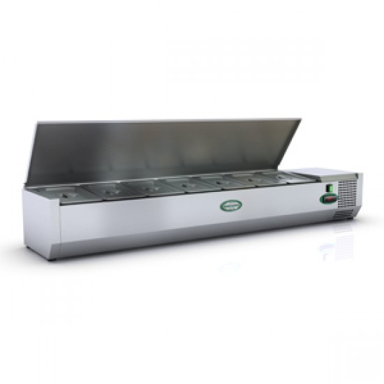 1/3 GN TOPPING FRIDGE WITH S/STEEL LID 1.5M