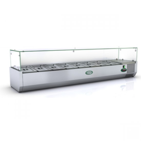 1/3 GN TOPPING FRIDGE WITH GLASS TOP 1.6M