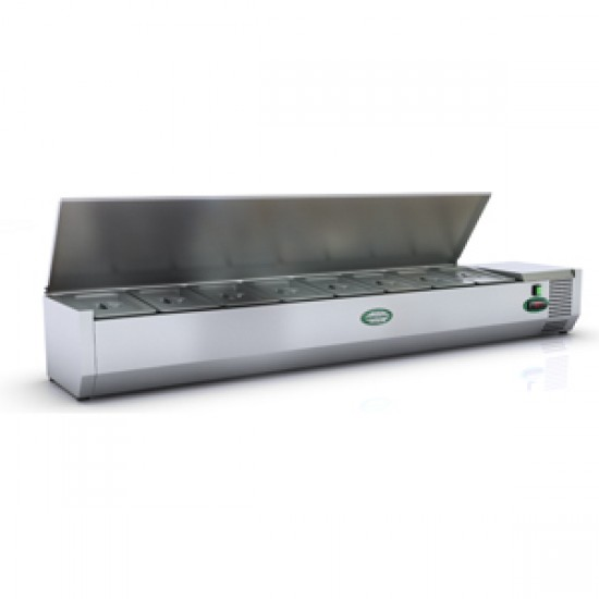 1/3 GN TOPPING FRIDGE WITH S/STEEL LID 1.6M