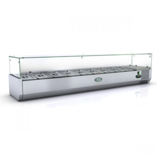 1/3 GN TOPPING FRIDGE WITH GLASS TOP 1.8M