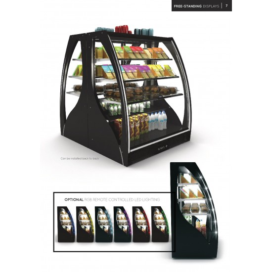 CURVED FREESTANDING DISPLAY FRIDGE WITH FRONT AND REAR DOORS