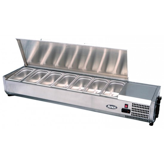 TOPPING FRIDGE WITH STAINLESS STEEL LID AND PANS