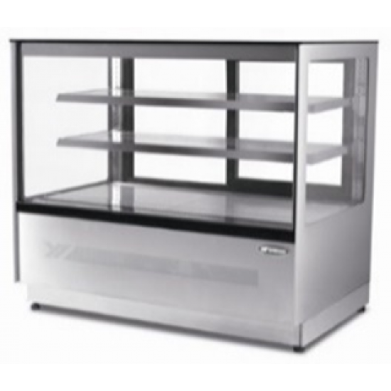 HEAVY DUTY SQUARED GLASS TWO SHELVED DELI COUNTER 0.9M