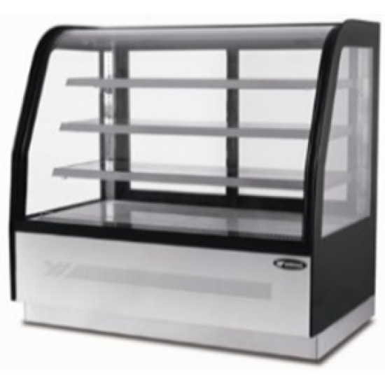 HEAVY DUTY CURVED GLASS THREE SHELVED DELI COUNTER 0.9M