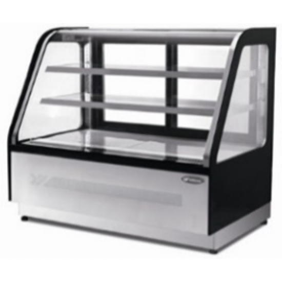 HEAVY DUTY CURVED GLASS TWO SHELVED DELI COUNTER 0.9M